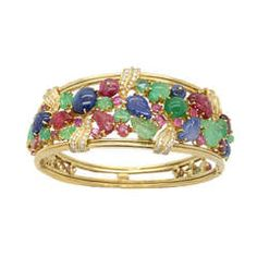 Italian Sapphire Ruby Emerald Diamond Bracelet 1980