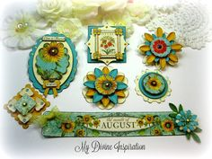 G45 Time to Flourish August Handmade Paper Embellishments for Scrapbooking Layouts Cards Mini Albums Tags Paper Crafts