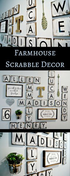 "Squeee! How cute are these! Large Scrabble Tiles , 5.5"" wood tiles blocks, Gallery Wall Decor, Farmhouse Style Decor, Scrabble Tiles, Personalized Sign, Wood Letter #ad #afflink #farmhouse #scrabbledecor #scrabble #tiles"