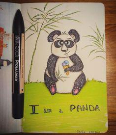 Panda. Alcohol markers.