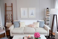 i love the ladder as a holder for throws and small rugs (and maybe to hang wet laundry when no guests are around)