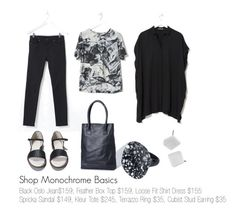 """""""Shop Monochrome Basics"""" by elkaccessories on Polyvore featuring GetTheLook, WorkWear, monochrome, blackandwhite and elkaccessories Box Tops, Spring 2015, Workwear, Monochrome, Pants For Women, Stud Earrings, Shirt Dress, Shop, Polyvore"""