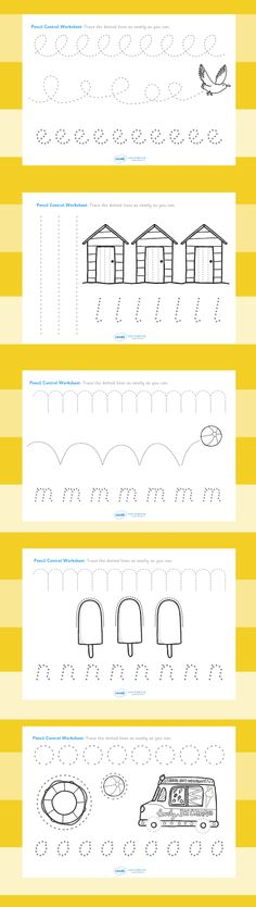 Printable Handwriting Worksheets for Kids: The seaside- Pencil control worksheets Preschool Writing, Preschool Worksheets, Preschool Learning, Preschool Activities, Pre Writing, Writing Practice, Writing Skills, Handwriting Worksheets, Handwriting Activities