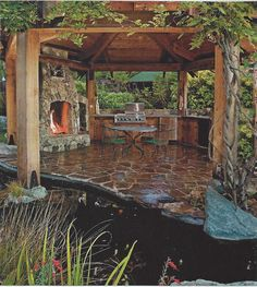 complete with goldfish pond. Backyard Gazebo, Fire Pit Backyard, Pencil Plant, World Of Chaos, Garden Pond Design, Goldfish Pond, Building A Pond, Pond Water Features, Hagen