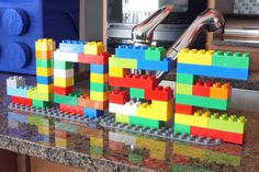 lego - easy party decor with big legos spelling out birthday kids name... looks like fun!