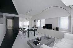 Upea valkoinen olohuone