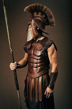 Roman soldier with helmet and spear