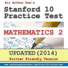 THIS and other practice test packets for Stanford 10 tests for K-2 are already available for download at TeachersPayTeachers.com. Click here for further details. Please HELP me inform K-2 teachers and parents that these materials are already available in the internet. Thank you so much.