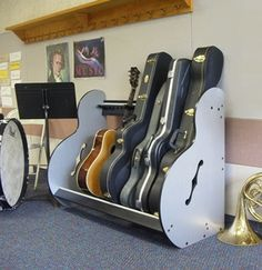 This is the side view of the Band Room Guitar Storage Unit. More details available at https://www.guitarstorage.com.