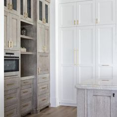 Gray Oak Cabinets with White Shaker Cabinets - Transitional - Kitchen Home Design, Küchen Design, Interior Design Kitchen, Design Ideas, Two Tone Kitchen Cabinets, Oak Cabinets, Kitchen Cabinets Without Hardware, Pantry Cabinets, Kitchen Cabinetry