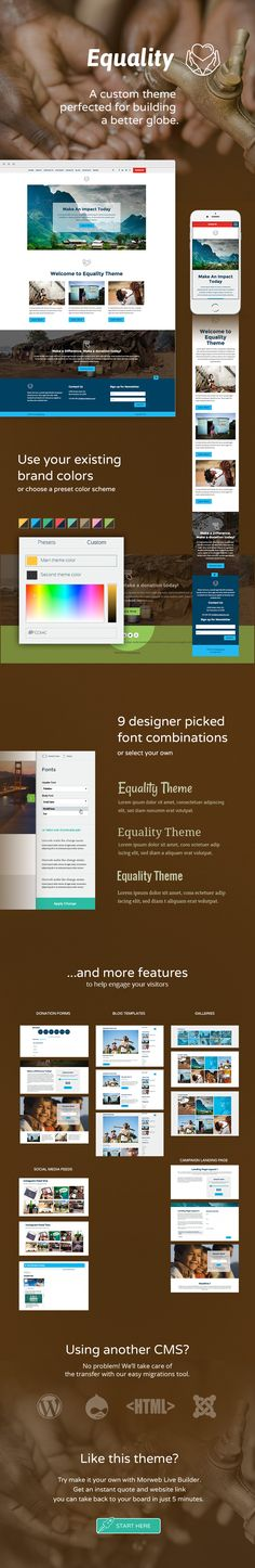 Use Morweb CMS to build a custom website for your nonprofit or association. Font Combinations, Custom Website, Website Themes, Non Profit, Equality, Design, Social Equality, Design Comics, Equation