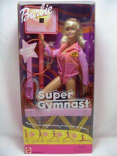 Barbie Girl Blond Super Gymnast Doll Play Set 55290 Scoreboard Works Mint in Box #Barbie #DollswithClothingAccessories