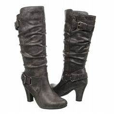 Madden Girl Posch grey boots with buckle. #winterboots