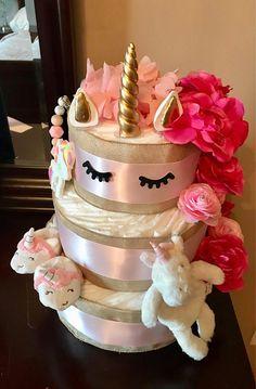 Unicorn diaper cake, unicorn baby shower, unicorn, baby show Girl Baby Shower Decorations, Baby Shower Centerpieces, Baby Shower Themes, Shower Ideas, Baby Shower Diapers, Baby Shower Cakes, Baby Shower Parties, Unicorn Baby Shower, Baby Boy Shower