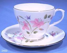 Duchess Pink Lillies Vintage Bone China Tea Cup & Saucer