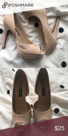 Nude patent leather heels Nude peep toe patent leather heels, worn once, fits small to size Shoes Heels