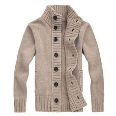 Brand New Winter Spring Sweater Men Thick Cotton Full Sleeves Mandarin Collar Solid Cardigans Mens Outwear Button Sweaters