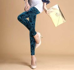 New! Korean Slim Gold Velvet Leggings Printed trousers for Female Autumn and Winter Casual Basic Pants 8 colors Free shipping on Aliexpress....