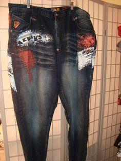 Akademiks Jeanius Level Sz 44 x 34 Men's Denim Blue Jeans W/ Art Work #Akademiks #ClassicStraightLeg