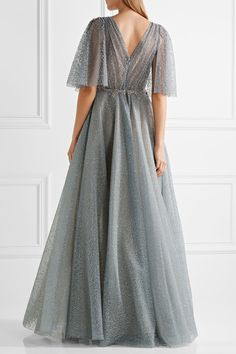 Blue-gray glittered tulle Concealed hook and zip fastening at back viscose, polyester, nylon; Tulle Ball Gown, Tulle Dress, Pink Dress, Ball Gowns, Marchesa Gowns, Glitter Dress, Pink Glitter, Embellished Gown, Pink Gowns