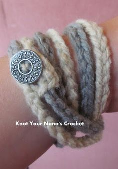 Crochet Chain Bracelet, free crochet pattern by Knot Your Nana's Crochet: This back to basics pattern includes a helpful photo tutorial.