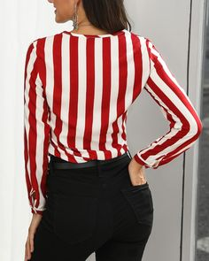 Off Shoulder Shirring Frill Hem Blouse Tops Online Shopping, Trend Fashion, Pattern Fashion, Sleeve Styles, Blouses For Women, Casual Outfits, Stripes, Buttons, Long Sleeve