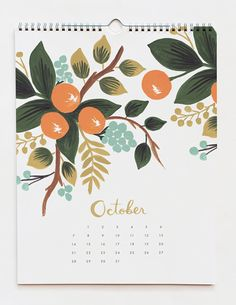 2012 illustrated calendars from Rifle Paper Co, featured on Design Sponge. #calendar #illustration #riflepaperco