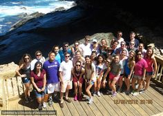 "The ENGL in Australia group ""taking in the sights at Admirals Arch on Kangaroo Island."""