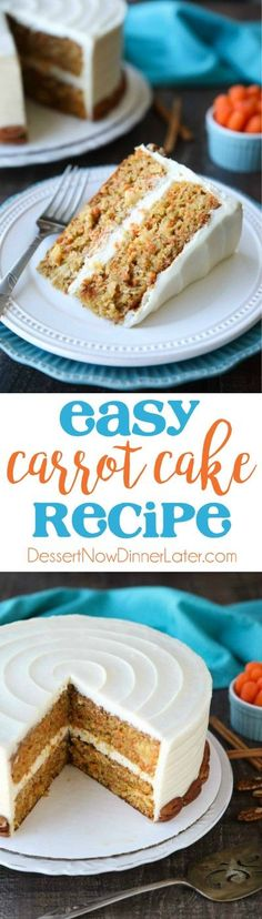 This easy carrot cake recipe is moist, perfectly-spiced, and topped with the BEST cream cheese frosting. Customize it with your favorite fillers or enjoy it simply as-is. #easter