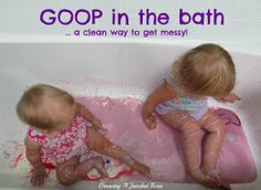 Exploring GOOP in the bath is a fantastic way to contain the mess and allows little ones to fully explore.