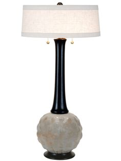 """Pod Table Lamp  Ash glaze with turn alder neck finished in Dark Walnut  33"""" with Natural Cream shade"""
