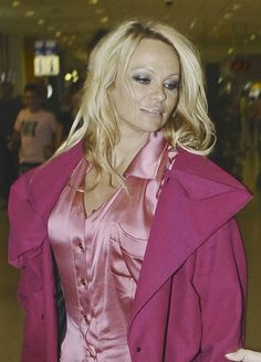 Ladies in Satin Blouses: Pamela Pink Satin Blouse, Satin Blouses, Silk Satin, Celebrity Pictures, Classy, Leather Jacket, Celebrities, Womens Fashion, How To Wear