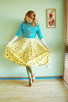 Vintage cardigan and skirt combo