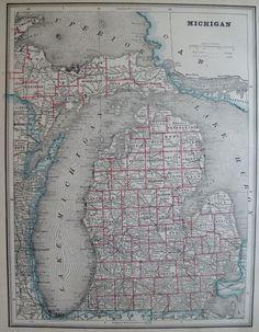 Antique MICHIGAN Map  1892 BEAUTIFUL Vintage Atlas Map  Plaindealing 2374