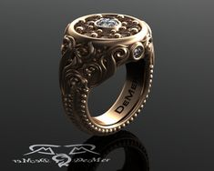 Solid 18kt 2.62 cttw Cognac & White diamonds. Large heavy statement ring sculpted and engraved with Baroque scrollwork. Rose gold cocktail.