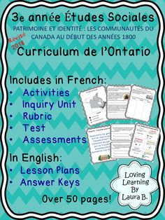 Social Studies Resources, Learning Resources, Classroom Resources, Ontario Curriculum, French Immersion, Canada, Unit Plan, Grade 3, Elementary Education