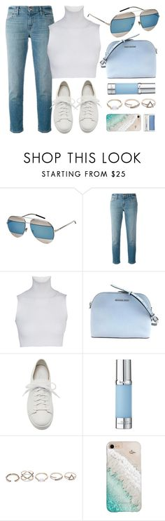 """""""Blue Day"""" by smartbuyglasses-uk ❤ liked on Polyvore featuring Christian Dior, J Brand, Santoni, La Prairie, GUESS, Gray Malin, Clinique, white and Blue"""