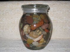 A jar of rocks from Lake Superior. Water was added to bring out the beauty and detail of the rocks! Lake Superior, The Rock, Tween, Mason Jars, Rocks, Detail, Water, Beauty, Gripe Water