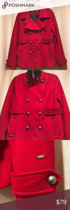 Tommy Hilfiger coat Like new preowned condition. Statement red wool and poly blend with antique brass buttons. Beautiful craftsmanship details and tailoring. Tommy Hilfiger Jackets & Coats
