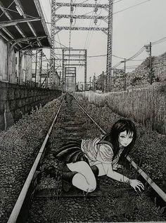 Arte Horror, Horror Art, Aesthetic Art, Aesthetic Anime, Manga Art, Anime Art, Dark Art Paintings, Japanese Horror, Matou