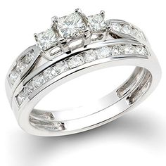 100 Carat ctw 14k White Gold Princess  Round 3 Stone Diamond Ladies Bridal Ring Set Engagement Set 1 CT Size 7 -- More info could be found at the image url.