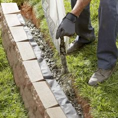 Lawn and Garden Tools Basics How To Build A Retaining Wall Retaining Wall Design, Building A Retaining Wall, Garden Retaining Wall, Landscaping Retaining Walls, Sloped Garden, Backyard Landscaping, Retaining Wall Drainage, Landscaping Ideas, Backyard Projects
