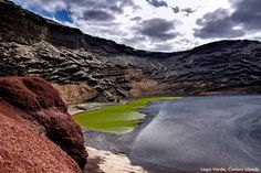 A green lagoon set behind a black sand beach. No, you're not dreaming, you can actually visit this unique place. It is Lago Verde in the Canary Islands. Who wants to go? barretttravel.globaltravel.com pamelabarrett22@gmail.com