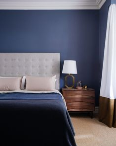 Bedroom color schemes for a stylish bedroom - Blue Bedroom - - Blue Bedroom Decor, Small Room Bedroom, Bedroom Colors, Bedroom Ideas, Blue Bedrooms, Bedroom Lamps, Small Rooms, Farmhouse Style Bedrooms, Farmhouse Bedroom Decor