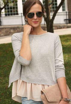 Chiffon Top And Sweater 2017 Street Style