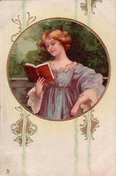 Old Post Card — Art Nouveau Lady, 1905 (833x812)