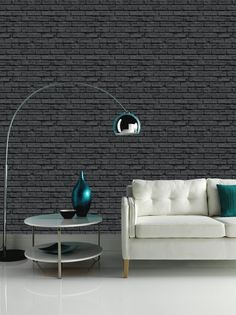Arthouse VIP Black Brick Wall Pattern Faux Stone Effect Motif Mural Wallpaper 623007 Brick Design Wallpaper, Black Brick Wallpaper, Wallpaper Uk, Stone Wallpaper, Textured Wallpaper, Wallpaper Ideas, Art House, White Wash Brick, Chimney Breast