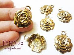3 pcs Antique Gold Dimensional Rose Charm PEND180 by EarthlyJewels, $2.45