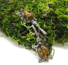 Vintage Turtle Earrings Natural Green Baltic Amber animal dangle earrings USSR vintage collectible gift retro turtle jewelry by SanaGem on Etsy