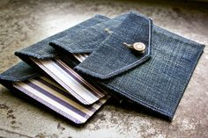 Original Denim Envelopes & Cards - Set of 4 Blank Cards - Handmade greeting cards from salvaged fabric. $60.00, via Etsy.